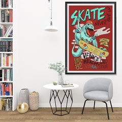 Ezposterprints - Skate & Never Give Up T-Rex - Red | Dinosaurs Jurassic Games - 32x48 ambiance display photo sample
