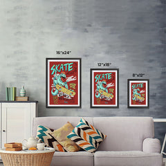 Ezposterprints - Skate & Never Give Up T-Rex - Red | Dinosaurs Jurassic Games ambiance display photo sample