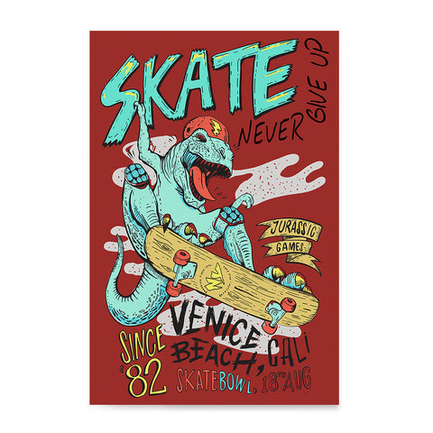 Ezposterprints - Skate & Never Give Up T-Rex - Red | Dinosaurs Jurassic Games