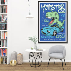 Ezposterprints - Super Car & Monster Racer T-Rex | Dinosaurs Jurassic Games - 32x48 ambiance display photo sample