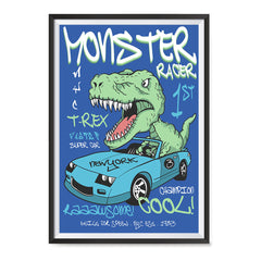Ezposterprints - Super Car & Monster Racer T-Rex | Dinosaurs Jurassic Games ambiance display photo sample