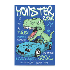 Ezposterprints - Super Car & Monster Racer T-Rex | Dinosaurs Jurassic Games