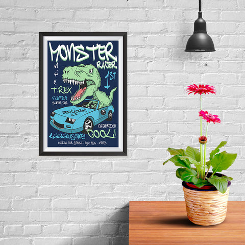 Ezposterprints - Super Car & Monster Racer T-Rex - Navy - 08x12 ambiance display photo sample