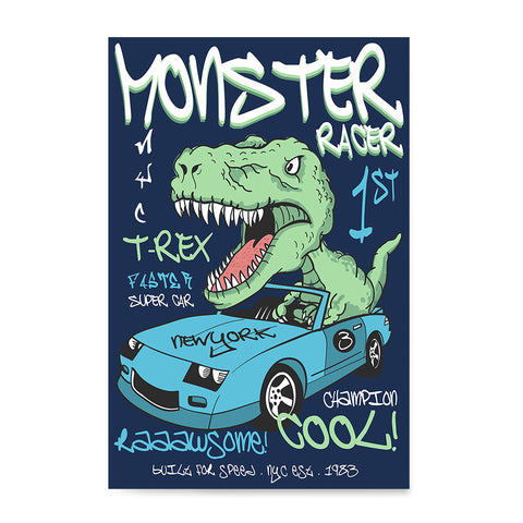 Ezposterprints - Super Car & Monster Racer T-Rex - Navy | Dinosaurs Jurassic Games