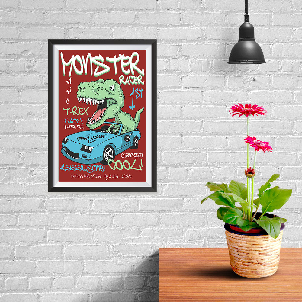 Ezposterprints - Super Car & Monster Racer T-Rex - Red - 08x12 ambiance display photo sample