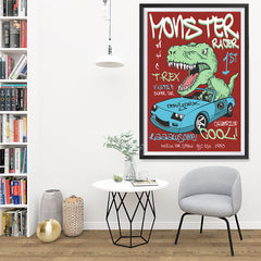 Ezposterprints - Super Car & Monster Racer T-Rex - Red | Dinosaurs Jurassic Games - 32x48 ambiance display photo sample