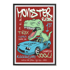 Ezposterprints - Super Car & Monster Racer T-Rex - Red | Dinosaurs Jurassic Games ambiance display photo sample