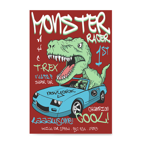 Ezposterprints - Super Car & Monster Racer T-Rex - Red | Dinosaurs Jurassic Games