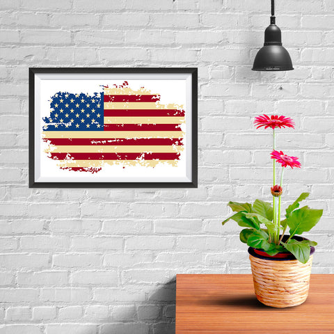 Ezposterprints - Veteran Worn Out USA Flag Poster - 12x08 ambiance display photo sample