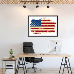 Ezposterprints - Veteran Worn Out USA Flag Poster - 36x24 ambiance display photo sample