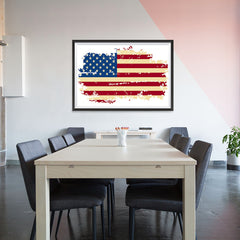 Ezposterprints - Veteran Worn Out USA Flag Poster - 48x32 ambiance display photo sample