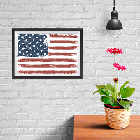 Ezposterprints - Faded USA Flag Poster - 12x08 ambiance display photo sample