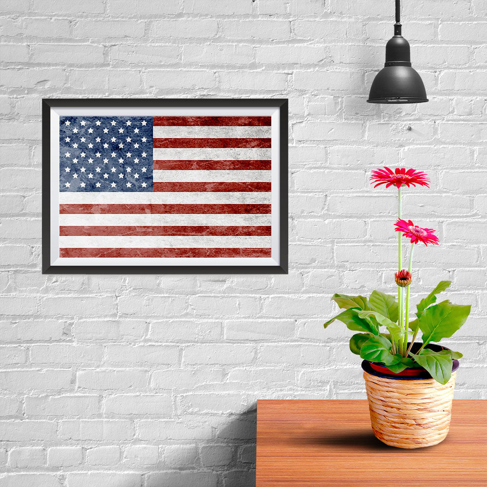 Ezposterprints - Grunge USA Flag 1 Poster - 12x08 ambiance display photo sample