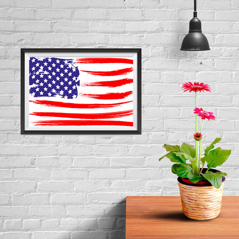 Ezposterprints - Grunge USA Flag 2 Poster - 12x08 ambiance display photo sample