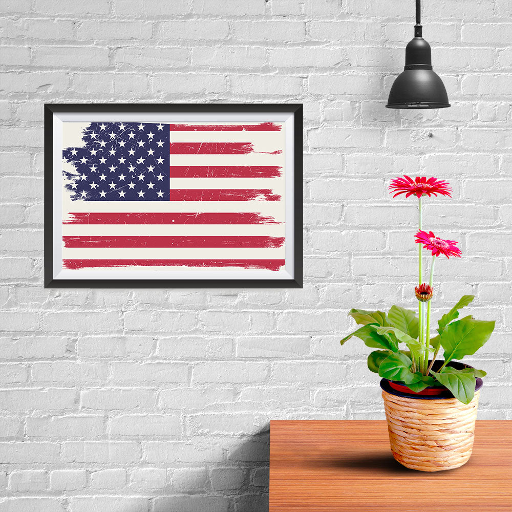 Ezposterprints - Grunge Worn Out USA Flag Poster - 12x08 ambiance display photo sample