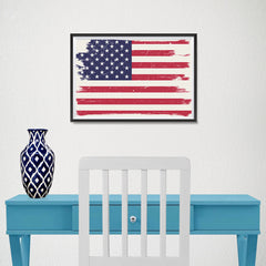 Ezposterprints - Grunge Worn Out USA Flag Poster - 18x12 ambiance display photo sample