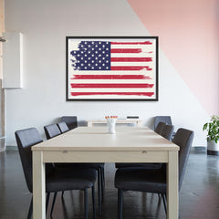 Ezposterprints - Grunge Worn Out USA Flag Poster - 48x32 ambiance display photo sample