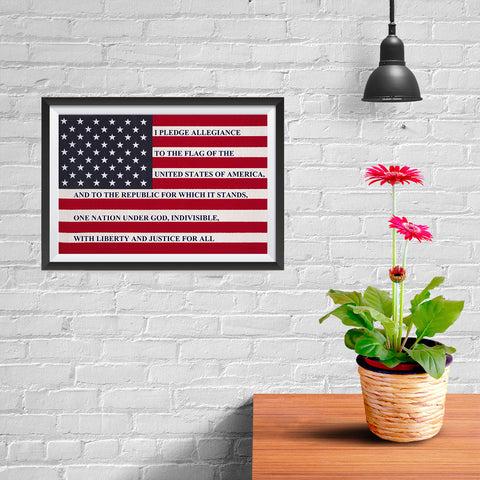 Ezposterprints - The USA Flag with Pledge Of Allegiance Poster - 12x08 ambiance display photo sample