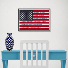 Ezposterprints - The USA Flag with Pledge Of Allegiance Poster - 18x12 ambiance display photo sample