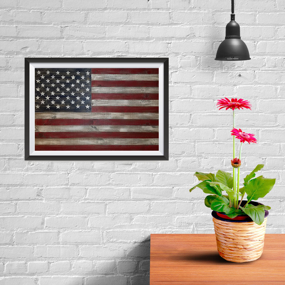 Ezposterprints - Rustic USA Flag Poster - 12x08 ambiance display photo sample