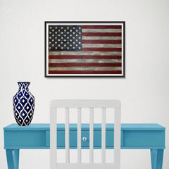 Ezposterprints - Rustic USA Flag Poster - 18x12 ambiance display photo sample