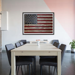 Ezposterprints - Rustic USA Flag Poster - 48x32 ambiance display photo sample