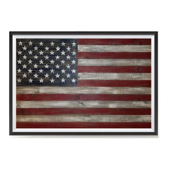 Ezposterprints - Rustic USA Flag Poster ambiance display photo sample