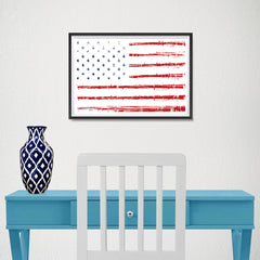 Ezposterprints - Textured Worn Out USA Flag Poster - 18x12 ambiance display photo sample