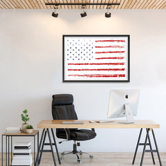 Ezposterprints - Textured Worn Out USA Flag Poster - 36x24 ambiance display photo sample