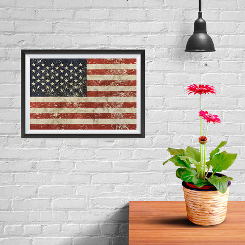 Ezposterprints - Vintage USA Flag Poster - 12x08 ambiance display photo sample