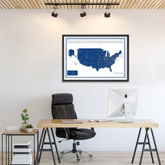 Ezposterprints - United States Road Map at a Glance Poster - 36x24 ambiance display photo sample