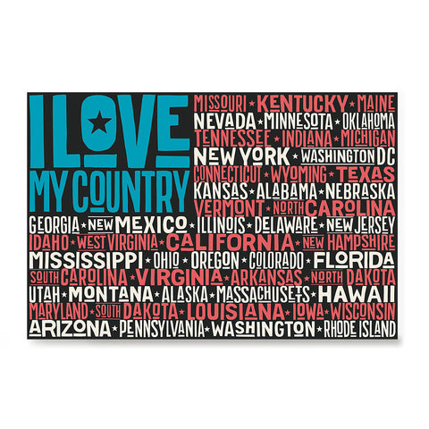 Ezposterprints - I Love My Country Flag of USA with State Names on Blue and Red