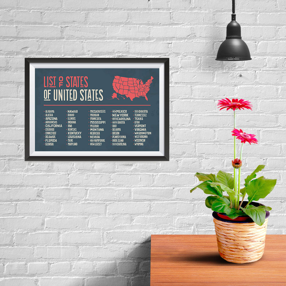 Ezposterprints - The US Map With 50 States Names - 12x08 ambiance display photo sample