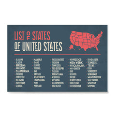 Ezposterprints - The US Map With 50 States Names