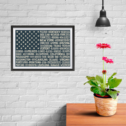 Ezposterprints - The US Flag with State Names on Black - 12x08 ambiance display photo sample