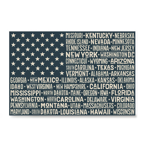 Ezposterprints - The US Flag with State Names on Black