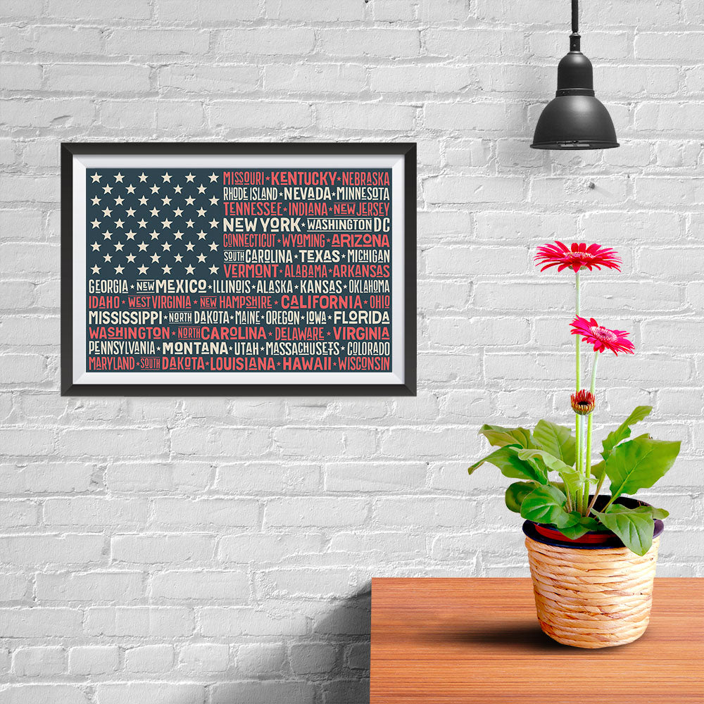 Ezposterprints - The US Flag with State Names Red - 12x08 ambiance display photo sample