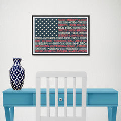Ezposterprints - The US Flag with State Names Red - 18x12 ambiance display photo sample