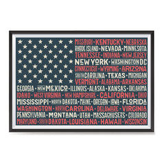 Ezposterprints - The US Flag with State Names Red ambiance display photo sample