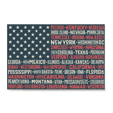 Ezposterprints - The US Flag with State Names Red