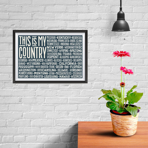 Ezposterprints - This is My Country Flag of The US with State Names on Dark Grey - 12x08 ambiance display photo sample