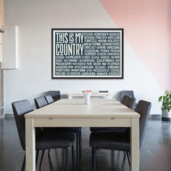 Ezposterprints - This is My Country Flag of The US with State Names on Dark Grey - 48x32 ambiance display photo sample