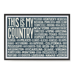 Ezposterprints - This is My Country Flag of The US with State Names on Dark Grey ambiance display photo sample