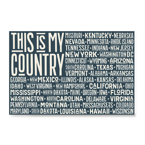 Ezposterprints - This is My Country Flag of The US with State Names on Dark Grey