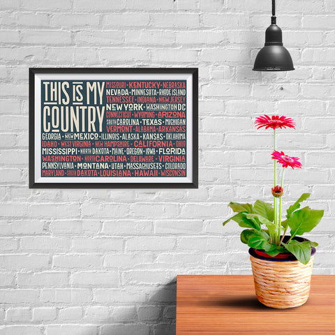Ezposterprints - This is My Country Flag of The US with State Names Red - 12x08 ambiance display photo sample
