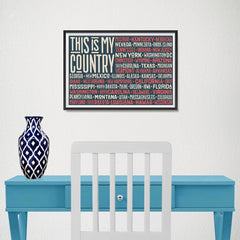 Ezposterprints - This is My Country Flag of The US with State Names Red - 18x12 ambiance display photo sample