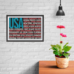 Ezposterprints - USA Text Flag of The US with State Names on Black And Red - 12x08 ambiance display photo sample