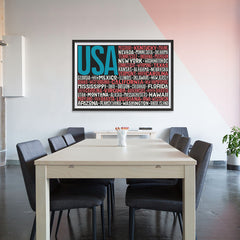 Ezposterprints - USA Text Flag of The US with State Names on Black And Red - 48x32 ambiance display photo sample