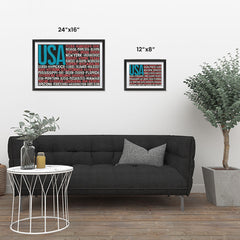 Ezposterprints - USA Text Flag of The US with State Names on Black And Red ambiance display photo sample