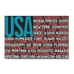 Ezposterprints - USA Text Flag of The US with State Names on Black And Red